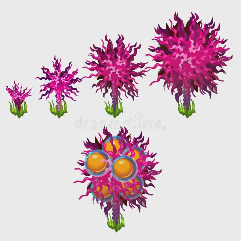 Buitensporige roze bomen met sinaasappelen, de vijf pictogrammengroei royalty-vrije illustratie