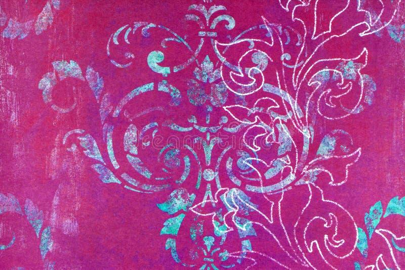 Buitensporige sjofele damast gevormde achtergrond stock fotografie