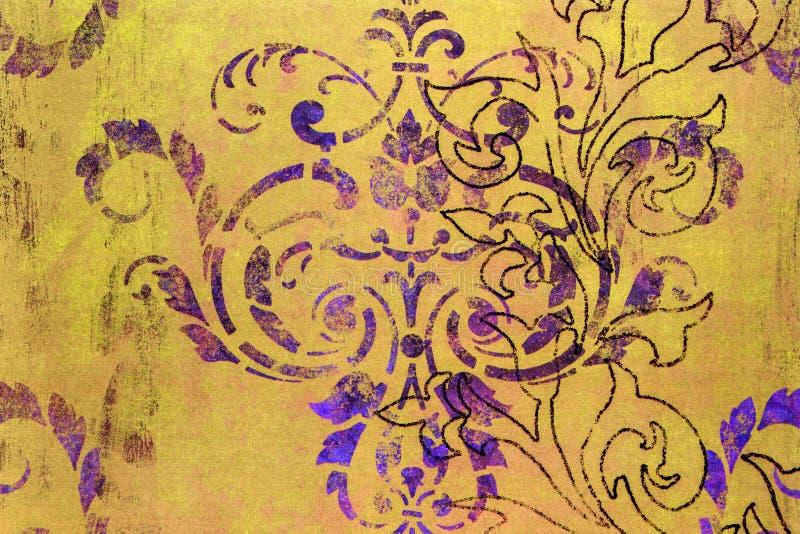 Buitensporige sjofele damast gevormde achtergrond royalty-vrije stock afbeelding