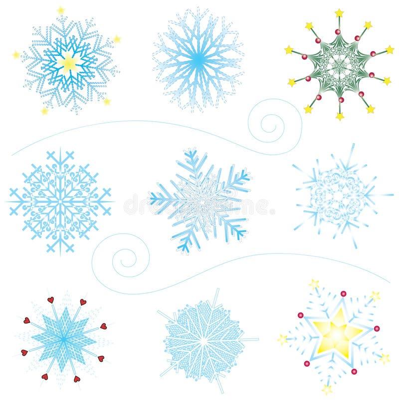 Buitensporige Sneeuwvlokken stock illustratie