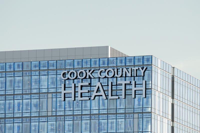 Buitenteken bij de bouw in Cook County Health Hospital, volksgezondheidsafdeling royalty-vrije stock afbeeldingen