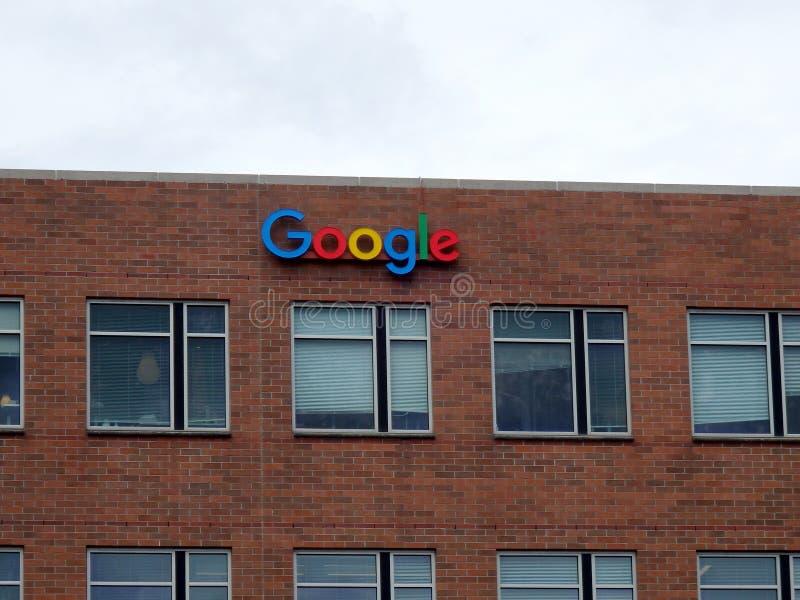 Buitenweergeven van de het Bureaubouw van Google Seattle royalty-vrije stock foto's