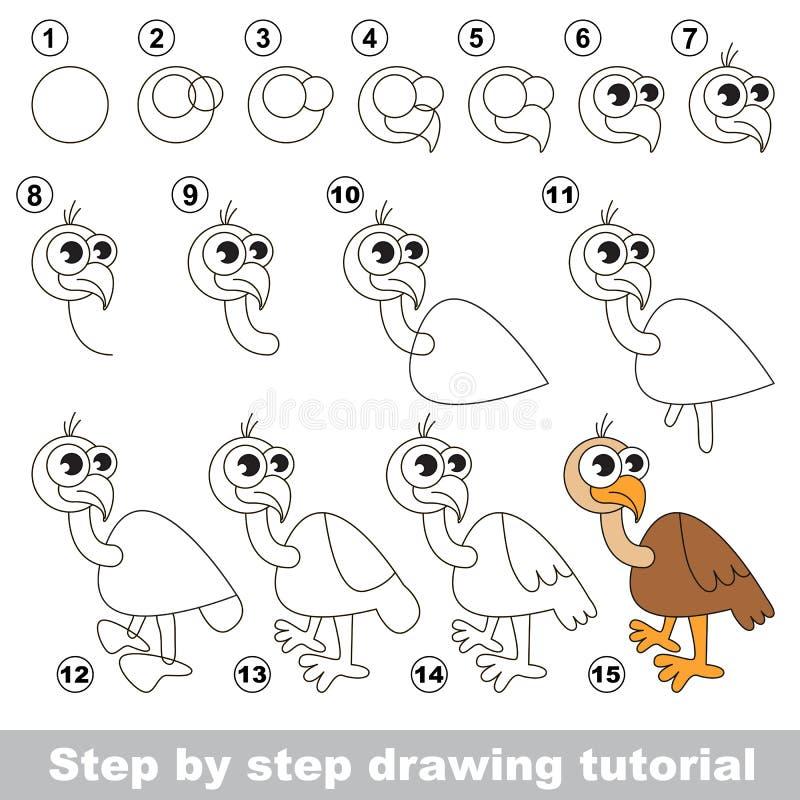 buitre Tutorial del dibujo ilustración del vector