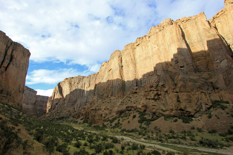 Buitrera峡谷, Chubut谷的,阿根廷一个上升的天堂 库存图片