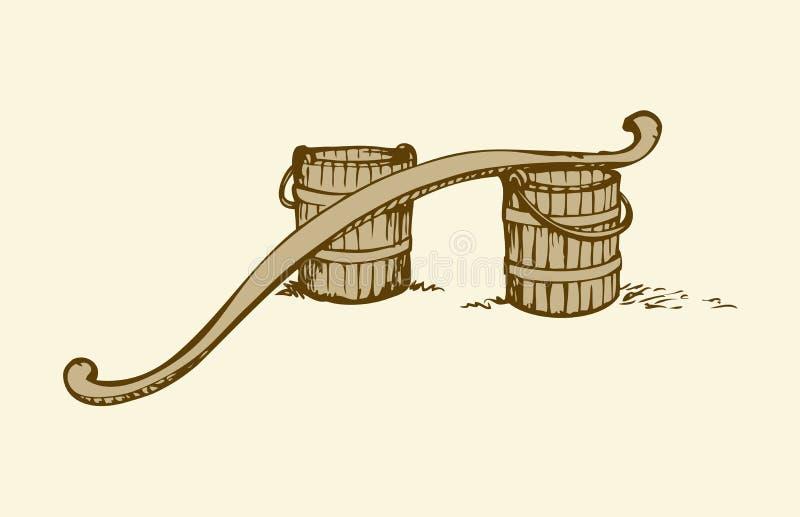 Bujak i wiadra rysuje tła trawy kwiecistego wektora ilustracja wektor