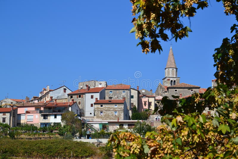 Buje in Istria - Croatia. View of the historical centre of village Buje in Istria, Croatia, with space for text royalty free stock photography