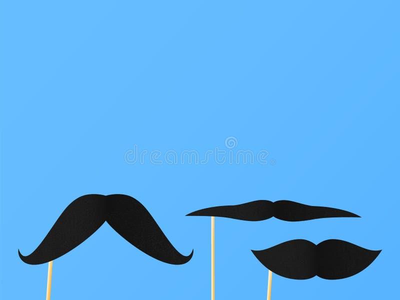 Bujny papierowy wąsy na słoma na błękitnym tle royalty ilustracja