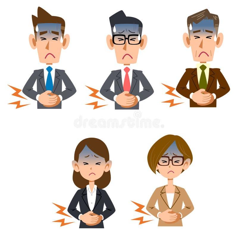Buk- smärta av den manliga och kvinnliga kontorsarbetaren stock illustrationer