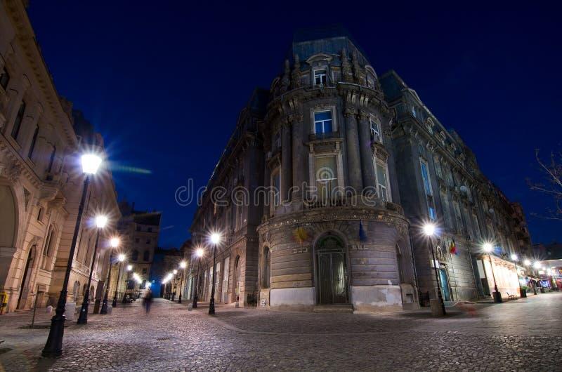 Bukarest bis zum Nacht - die historische Mitte lizenzfreie stockfotografie