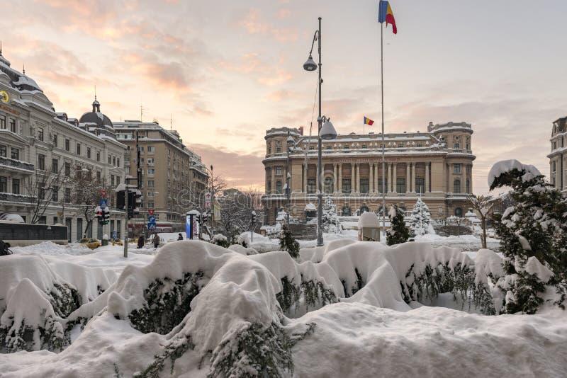 BUKAREST, RUMÄNIEN - 11. JANUAR 2017: Der nationale Militärkreis (Cercul Militar national) in im Stadtzentrum gelegenem Bukarest  lizenzfreie stockbilder