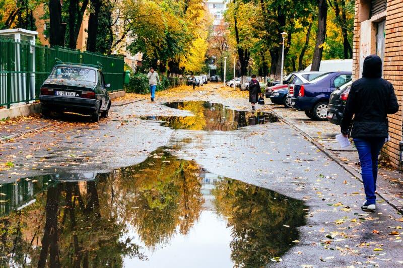 Bukarest-Straße im Herbst lizenzfreie stockfotografie
