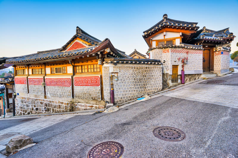 Bukchon Hanok the old village in Seoul, South Korea.  royalty free stock images