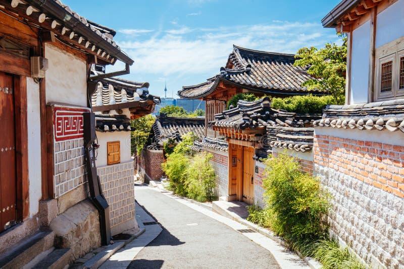 Bukchon Hanok Village in South Korea. Bukchon Hanok Village is a Korean traditional village located near Gyeongbok Palace in Seoul, South Korea royalty free stock images