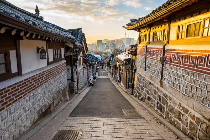 Bukchon Hanok Village in Seoul, South Korea.  stock images