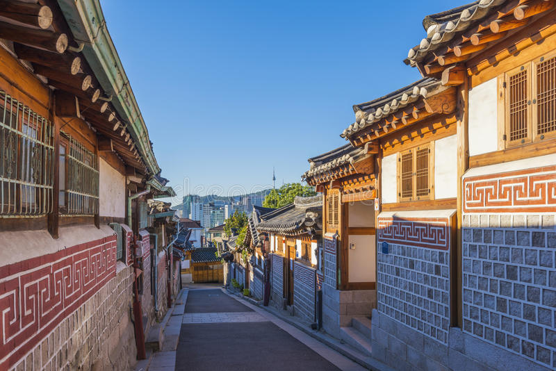 Bukchon Hanok Village in Seoul, South Korea.  royalty free stock photos