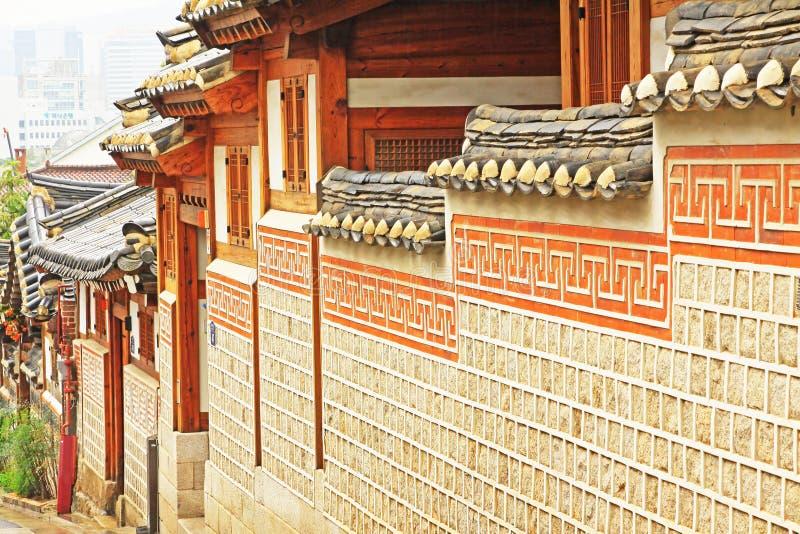 Bukchon Hanok Village, Seoul, South Korea. Surrounded by Gyeongbokgung Palace, Changdeokgung Palace and Jongmyo Shrine, Bukchon Hanok Village is home to hundreds stock photo