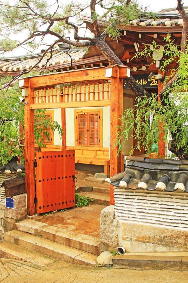 Bukchon Hanok Village, Seoul, South Korea. Surrounded by Gyeongbokgung Palace, Changdeokgung Palace and Jongmyo Shrine, Bukchon Hanok Village is home to hundreds stock images