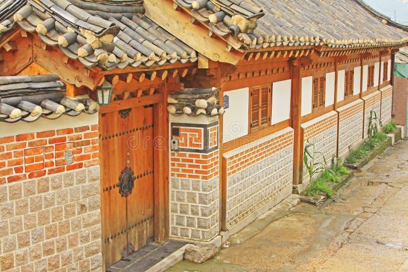 Bukchon Hanok Village, Seoul, South Korea. Surrounded by Gyeongbokgung Palace, Changdeokgung Palace and Jongmyo Shrine, Bukchon Hanok Village is home to hundreds stock image