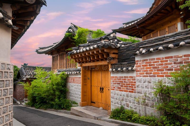 Bukchon Hanok Village. The traditional Korean architecture of Bukchon Hanok Village in Seoul, South Korea stock image