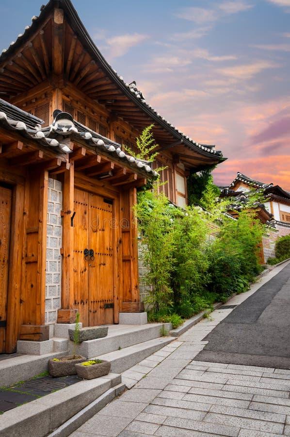 Bukchon Hanok Village. The traditional Korean architecture of Bukchon Hanok Village in Seoul, South Korea stock photo