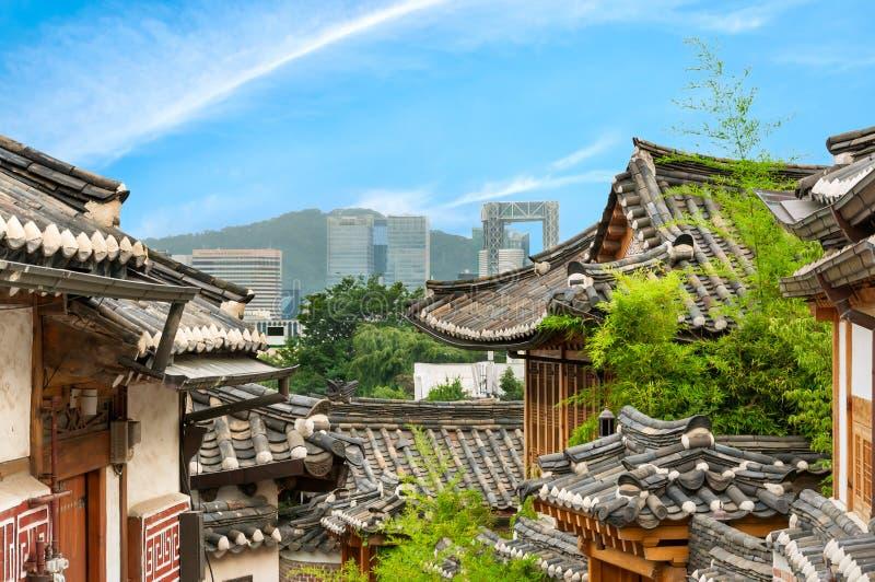 Bukchon Hanok Village. The traditional Korean architecture of Bukchon Hanok Village in Seoul, South Korea royalty free stock photo