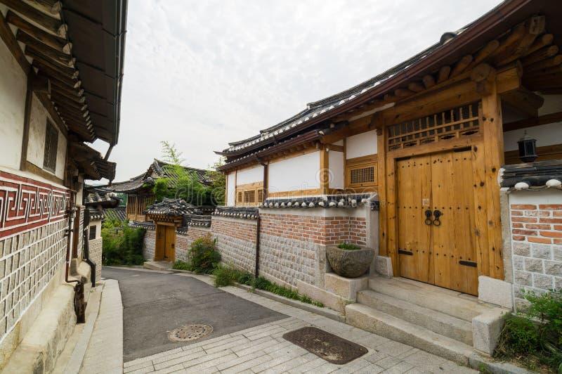 Bukchon Hanok Village. Traditional Korean house area in Seoul, Korea stock photos