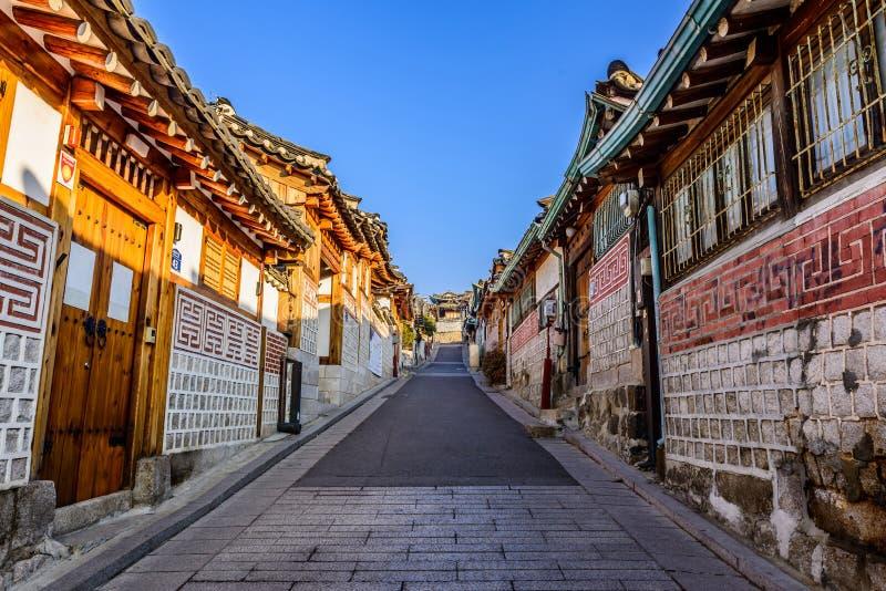 Bukchon Hanok Village,Traditional Korean style architecture in S. Eoul,Korea stock photo