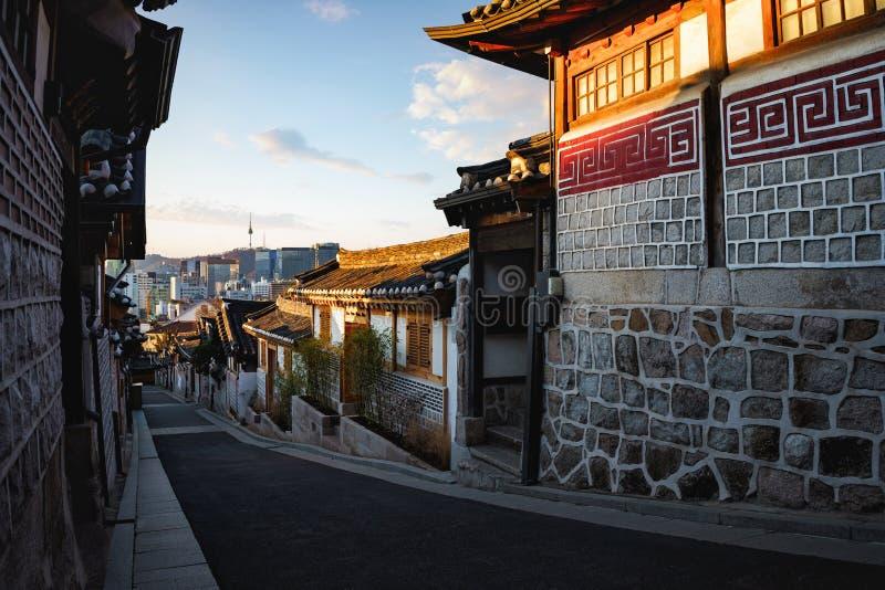 Bukchon Hanok Village. Traditional Korean style architecture. Bukchon Hanok Village, Seoul South Korea royalty free stock photography