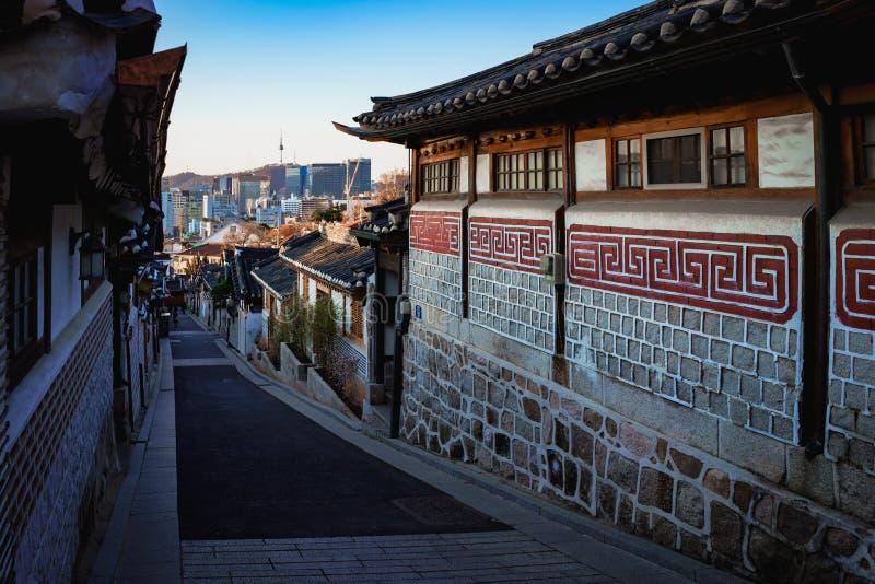 Bukchon Hanok Village. Traditional Korean style architecture. Bukchon Hanok Village, Seoul South Korea royalty free stock photo