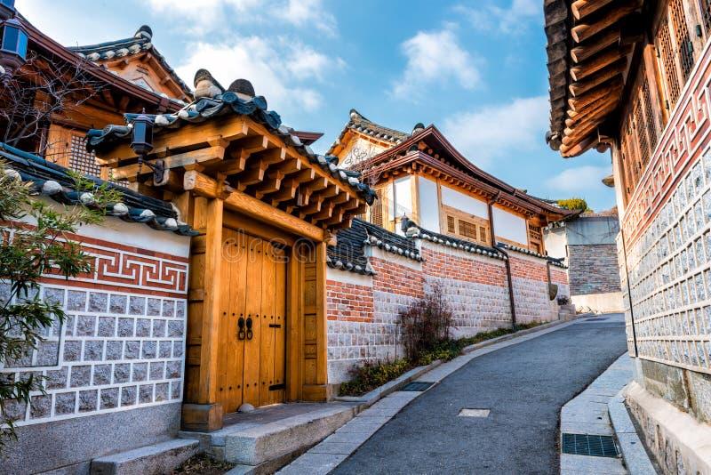 Bukchon Hanok Village. Traditional Korean style architecture at Bukchon Hanok Village in Seoul, South Korea royalty free stock photos