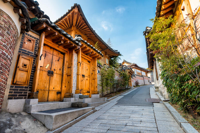 Bukchon Hanok Village. Traditional Korean style architecture at Bukchon Hanok Village in Seoul, South Korea stock image
