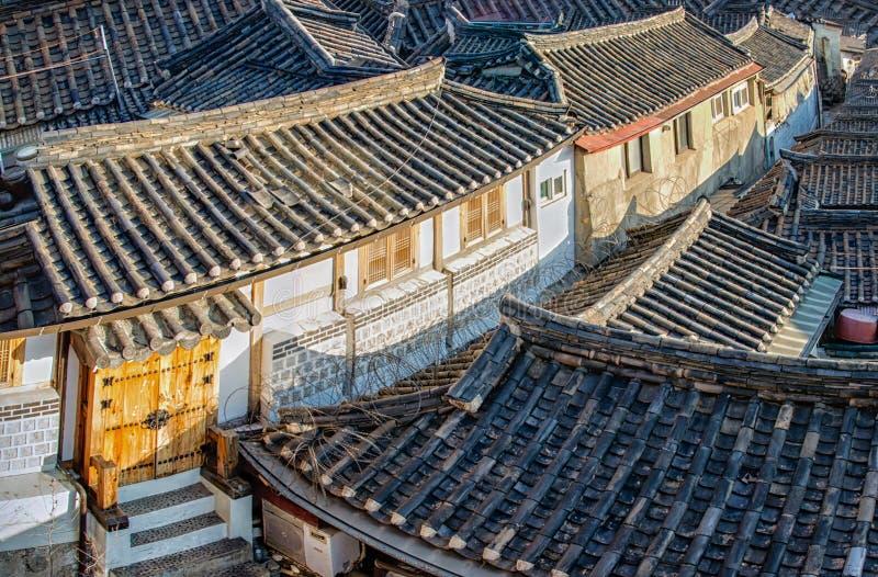 Bukchon Hanok Village. Traditional Korean style architecture at Bukchon Hanok Village in Seoul, South Korea stock photos