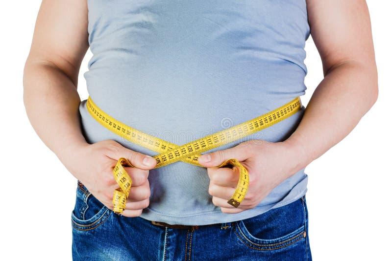Buken av en fet man som isoleras på vit bakgrund Fet manhol arkivbild