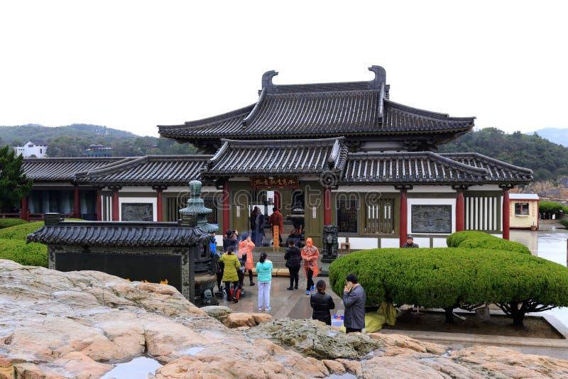 Bukenqu guanyin tempel op Putuoshan-Eiland Toneelgebied, rgb adobe royalty-vrije stock foto