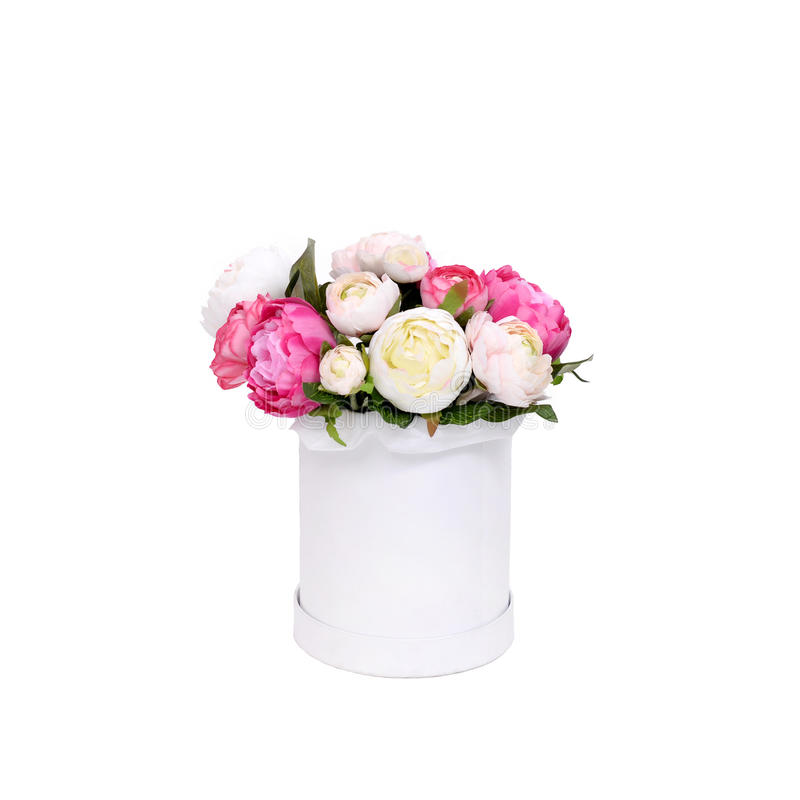 Bukett av blommor i asken som isoleras på vit bakgrund arkivfoton