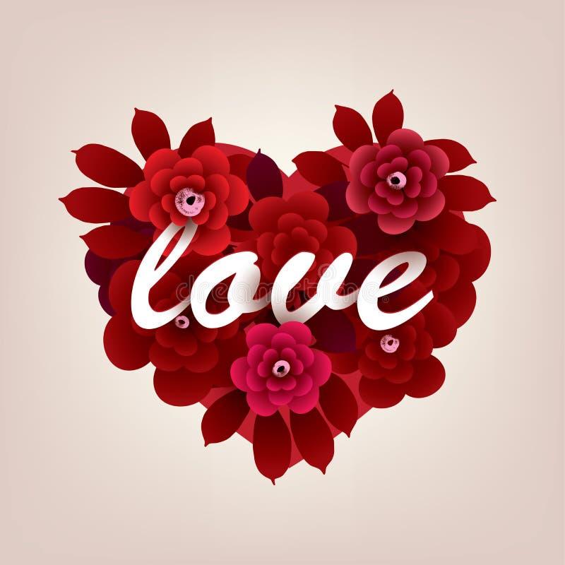 Bukett av blommor i formen av en hjärta med inskriftFÖRÄLSKELSEN royaltyfri illustrationer