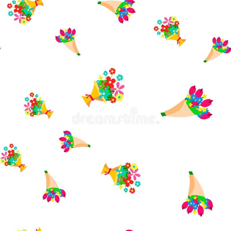 Bukett av den sömlösa modellvektorn för blommor Floal gullig grafisk textur textilbakgrund Färgrik bakgrund för tecknad film vektor illustrationer
