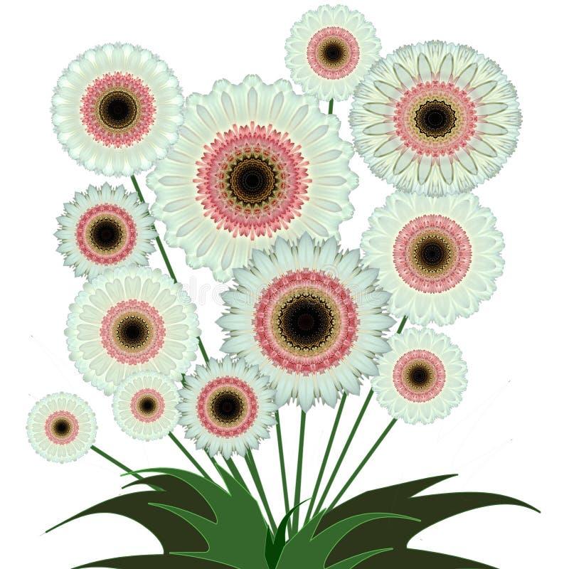 Bukett av digitala blommor för konstdesigngerbera royaltyfri illustrationer