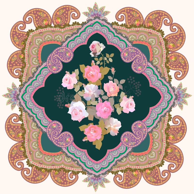 Bukett av försiktiga rosa rosor och paisley den dekorativa ramen Örngott doily, sjalett, näsduk vektor illustrationer