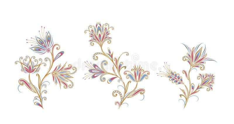 Bukett av fantastiska blommor Bakgrund i etnisk traditionell stil royaltyfri illustrationer