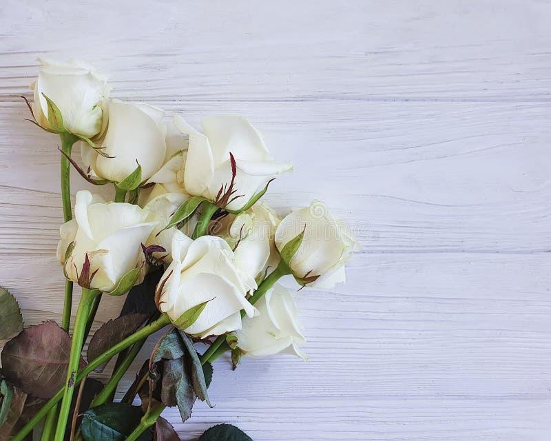 Bukett av hälsningen för tappning för vita rosor som den härliga är lantlig på en vit träbakgrund royaltyfria bilder