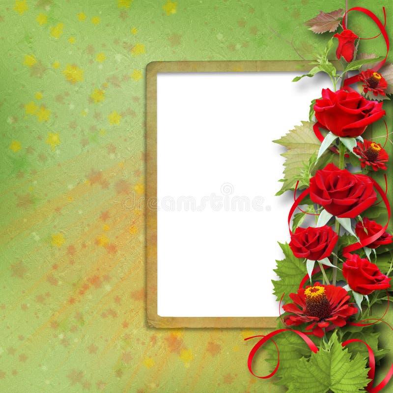 Bukett av härliga röda rosor för hälsningkort arkivfoto