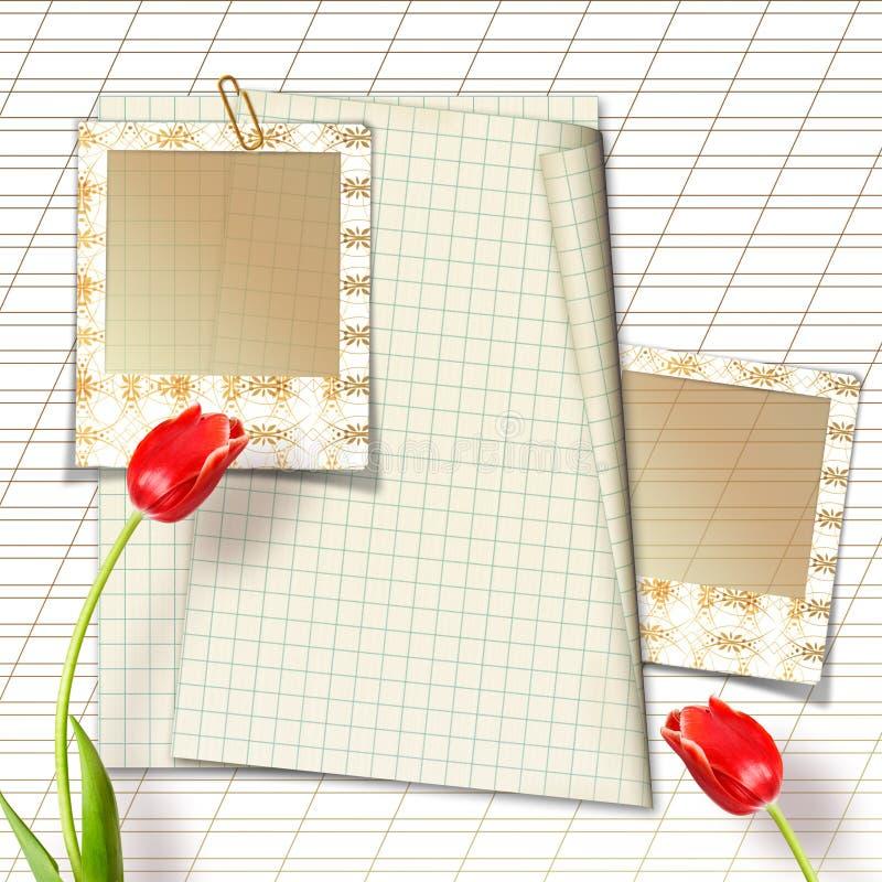 Bukett av härliga röda tulpan med glidbanor arkivbilder