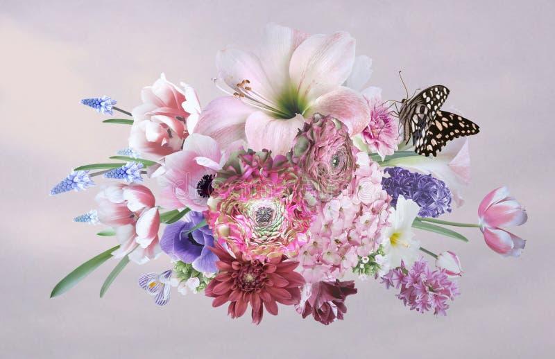 Bukett av härliga trädgårdblommor affisch stock illustrationer