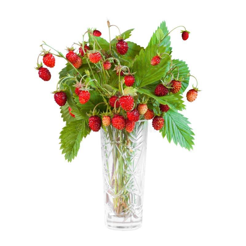 Bukett av lösa jordgubbar som isoleras på vit bakgrund royaltyfria bilder
