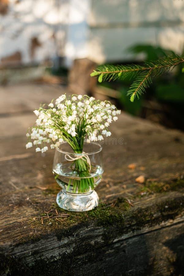 Bukett av liljekonvaljer i exponeringsglaset arkivfoto