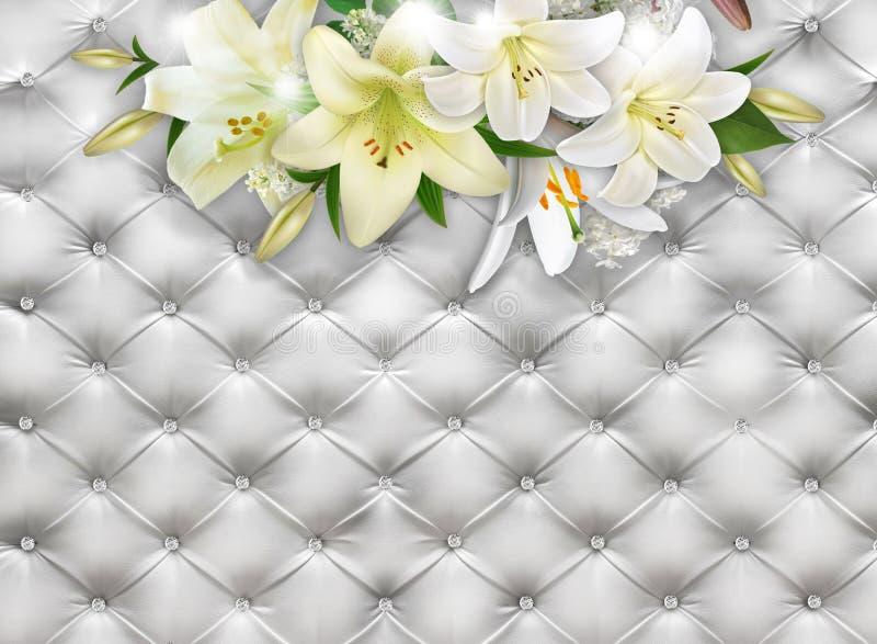 Bukett av liljor på en bakgrund av vitt läder Fototapet framförande 3d royaltyfri foto