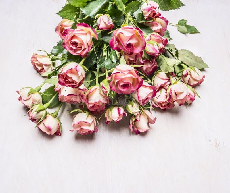 Bukett av rosa buskerosor, en gåva på mars 8 på bästa sikt för trälantlig bakgrund fotografering för bildbyråer