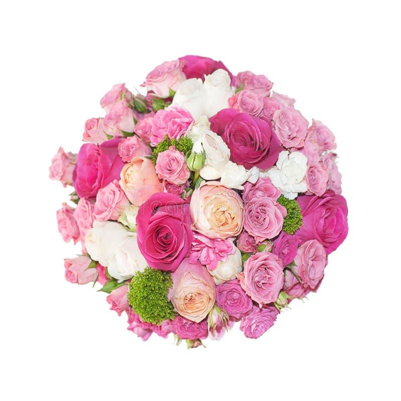 Bukett av rosa rosor i asken som isoleras på vit bakgrund royaltyfri bild