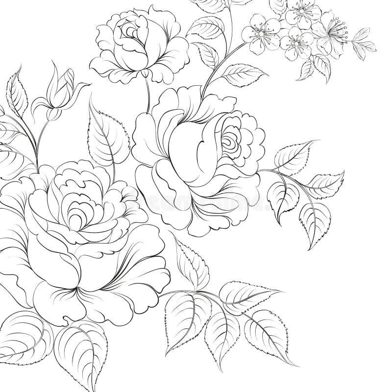 Bukett av rosor iolated på vit bakgrund stock illustrationer